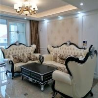 European style solid wood Leather sofa