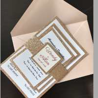 Hot Sale elegant good quality handmade directly manufacturer silver Powder Glitter Lined Wedding Invitation card