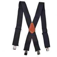 2 Inch Wide X-Back Suspender with Brown Middle Leather Patch
