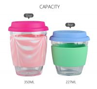 2018 Hot Selling 350ml Borosilicate Glass Water Cup With Silicone Cover And Lid