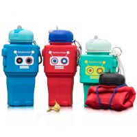 2018 new design Robot Collapsible Travel Silicone Foldable Water Bottle 500Ml