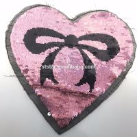 Wholesale cute emoji spangle custom reversible sequin magic embroidery patches for lady cloth
