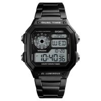 TOP Best New SKMEI 1335 Steel chronograph digital sports watches outdoor mens sport watches digital