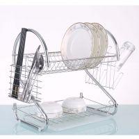 hot sale s shape two tier chrome dish rack dish drainer
