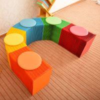 Craft paper desk, paper stool, paper bench.
