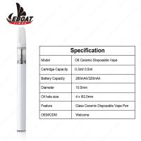 Custom logo Eboattimes O8 cbd oil cartridges vertical ceramic vape pen .5 ml disposable mini vape