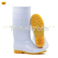 Durable Waterproof White PVC Rain Boots