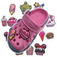 CARTOON lovely Ice-Creem Cake/Hamburger/Cute Star for fashion soft PVC Shoe decoration for kid Croc