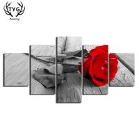 Home Decor Wall Art 5 Pieces Canvas Paintings Beautiful Red Rose Posters HD Prints For Livings Rooms Flower Frames Wall Decorate