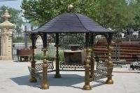 Metal gazebo with solid top for garden decoration