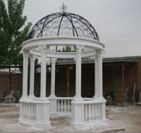 Carved marble column gazebo garden sculpture gazebo with metal dome top