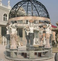 Hand carved garden Stone statue gazebo with metal dome top
