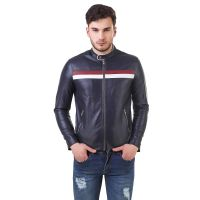 Men's Black Stripe Premium Leather Jacket