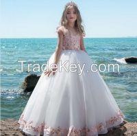 Handwork Girls Party Ball Gowns Chiffon Kids Wedding Dresses