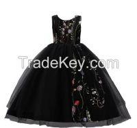 Girls Embroidery Dance Mesh Dress