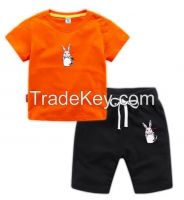 New Design Summer Embroidered T-Shirt Set Children Clothing