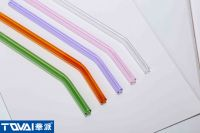 Tqvai Reusable Eco-Friendly Borosilicate Glass Straw Bent Glass Sipping Straw