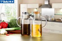 Tqvai Scale Glass Oil Dispenser with Stainless or Bamboo Lid Borosilicate Oil Bottle Kithchen Glass Oil Pot