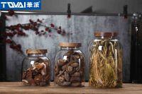 Tqvai Tea Leaf Storage Jar Borosilicate Glass Jar with Acacia Lid Home Kitchen Food Container