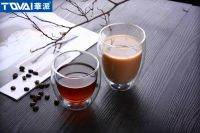 Tqvai Borosilicate Insulated Double Wall Coffee Cup Borosilicate Glass Tea Cup