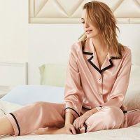 Custom fabric pajamas women's long sleeve pajamas