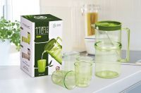 food safe PS plastic water jug set with 4 cups suitable for water, juice and milk