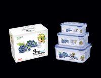 PP plastic food grade 3pcs set rectangular airtight food crisper R-8803