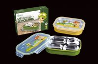 PP plastic bento box 18/10 stainless steel holder airtight lunch box R-5046