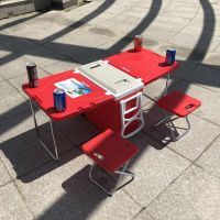 Plastic folded cooler box with table