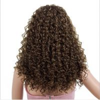 factory Customized African 23 inch brown black color long fluffy curly synthetic wigs