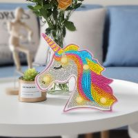 led unicorn diamond painting night lamp