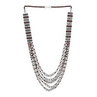 Vintage Oxidized Multi-Chain Beads Necklace