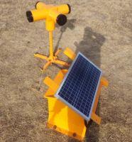 Solar energy acoustic bird dispersal device for airport bird control