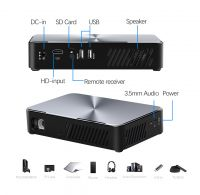 inProxima J10 DLP SMART Mobile travel projector with 8,000mAh Battery, 880 lumens brightness full hd better than LCD projector