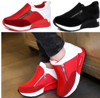 Fashion Women Zip Wedge Hidden Heel Artificial Suede Sport Shoes Boot Round Toe Sneakers Plus Size