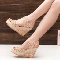 Women Shoes Summer New Open Toe Fish Head Fashion High Heels Wedge Sandals