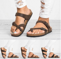 Women Summer Casual Gladiator Leather Flat with Buckle Flip Flops Sandals Beach Slippers