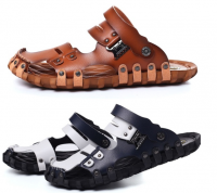 Men Sandals Breathable Casual Slippers Plus Size Pu Leather Men's Beach Shoes