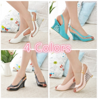 New fashion Women Pumps Plus Size35-43 High Wedge Heel Sandals Ankle Strap Buckle Open Toe Transparent Shoes Women's Summer Shoes Patent PU Sexy Summer Shoes