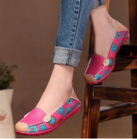 Women Casual Shoes Female Genuine Leather Printing Loafers Footwear Plus Size Fashion Slip On Shallow Flats