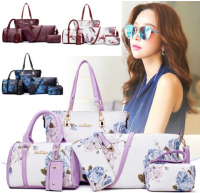 Buy One Get Five Free New Arrive Chinese Style Fashion Handbag Flower Pattern Tote Bag Beautiful Lady Boston Bag Pretty Ink Printing Shoulder Bag