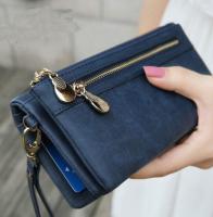 Women Fashion Women Wallets Dull Polish Leather Wallet Double Zipper Day Clutch Purse Wristlet Handbags