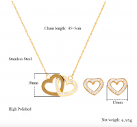 Jewelry Set Heart Necklace Earrings-01