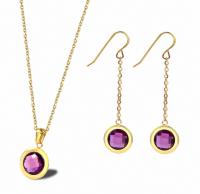 Jewelry Set Gemstone Necklace Earrings-15