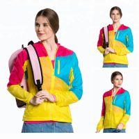 Professional Mix Color Windbreaker Waterproof Women Rash Guard Hooded Jacket