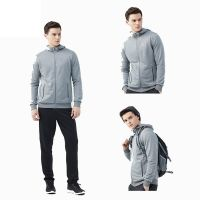 Fashion Mens 100% Polyester Blank Hooded Sweater Soild Color Jacket