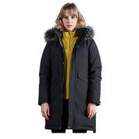 2019 Women's Faux Fur Lined Long Jacket Down Parka WithTrim Coats Wome