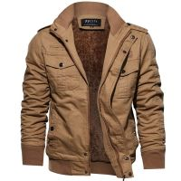 Plus Velvet Military Jacket Warm Add Wool Cashmere Padded Jackets for Men Outdoor Mens Clothes Casual Zipper Jackets