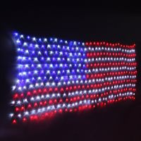 American Flag 390 LED String Lights Large USA Flag Outdoor Lights Waterproof Hanging Ornaments for Independence Day, Festival Decoration