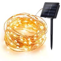 Solar String Lights, 8 Modes Copper Wire Lights, 100 LED 200 LED Starry Lights, Waterproof IP65 Fairy Christams Decorative Lights for Outdoor, Wedding, Homes, Party, Halloween (Warm White)